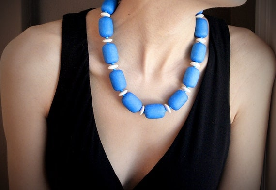 "Vintage Blue Lucite Necklace / OOAK / 1970s European Necklace Blueprint Blue and White / Sapphire Birthstone Color / ""BLUEPRINT"""