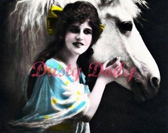 Lady with White Stallion - Metallic Print - 11x14