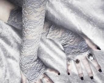 Lunette Lace Arm Warmers - Pale Silver Grey Metallic Floral - Gothic Wedding Elegant Belly Dance Fetish Fishnet Bridal Dark Lolita Goth