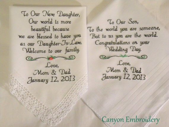 Special Wedding Gifts For Son And Daughter In Law : Embroidered Wedding Handkerchiefs Wedding Gift Daughter and Son gifts ...