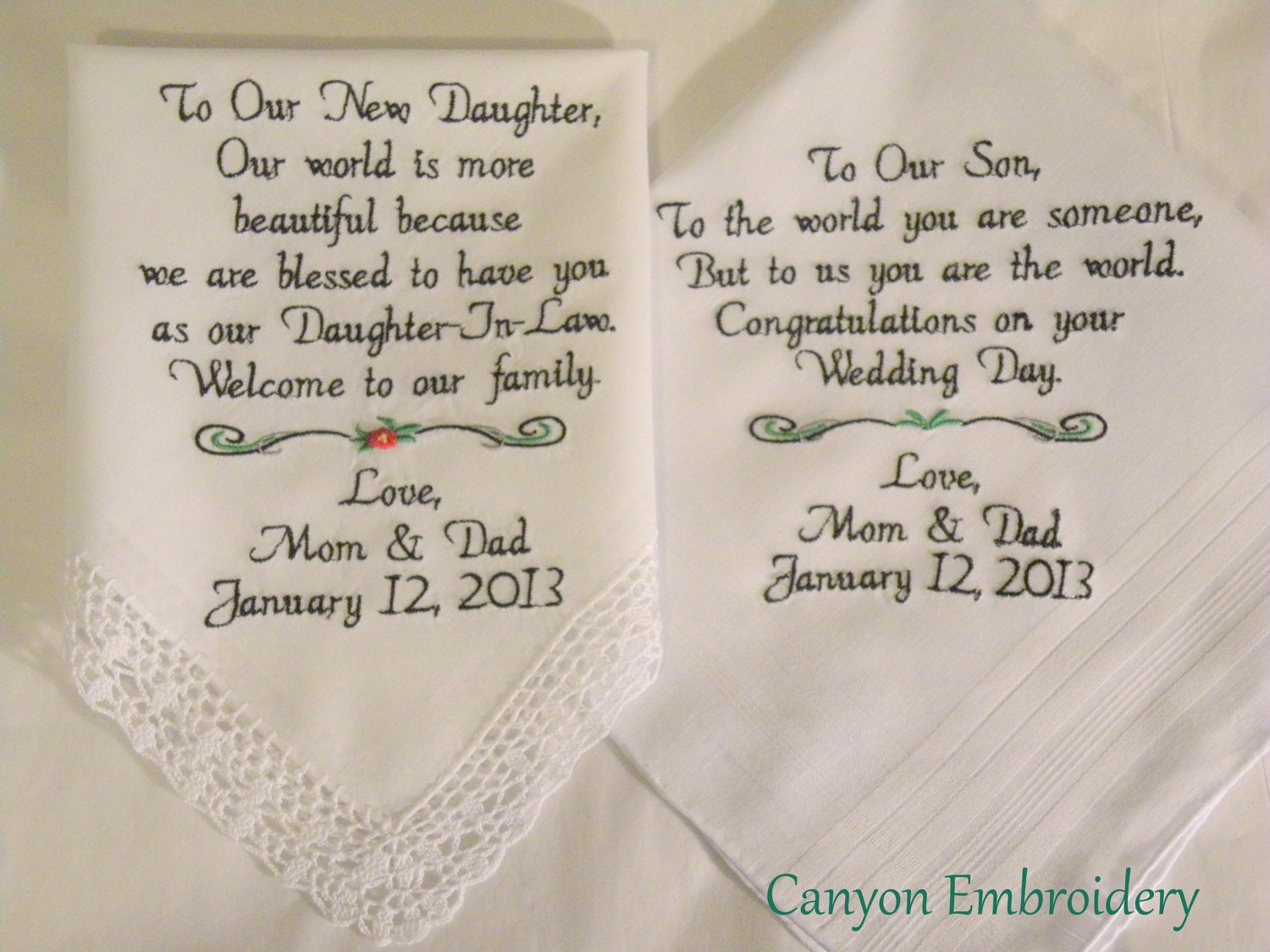 Wedding Gift For Our Daughter : Embroidered Wedding Handkerchiefs Wedding Gift by CanyonEmbroidery