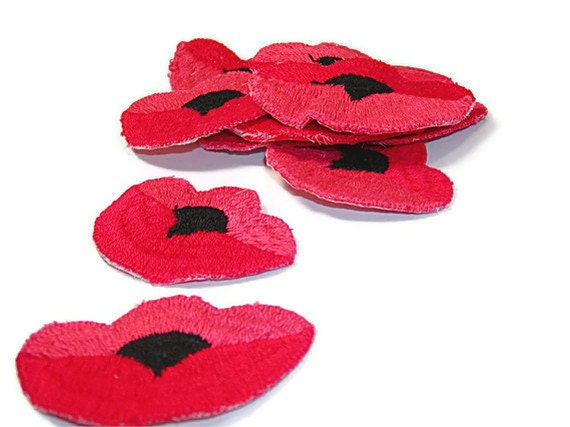 Poppy Applique, Poppies Applique, Red Poppy Patch, Flowers, Embroidered Applique, Embroidered, Red, Pink, Patch, Lot of 10, Black