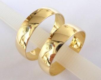 Wedding Bands set women's men's Wedding Rings gold 5mm wide wedding bands