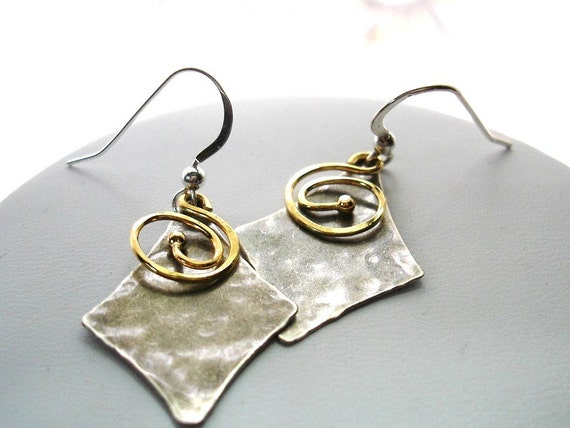 Great gift - Hammered silver gold mixed metal oxidized earrings made in Maine Diamond Shaped organic minimalist sterling silver
