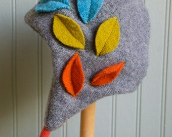 Fall Leaves Eco Cashmere Earflap Hat// 6-18 month size