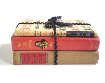 Vintage Red Black Tan Books, Vintage Red Book Bundle, Red Gold Black Books, Instant Book Collection