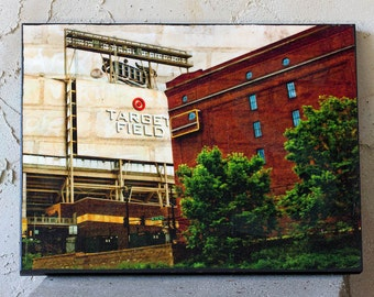 Minnesota Target Field, fine art photo,  9x12 inch wood panel, wall art, home decor, Minneapolis, sports