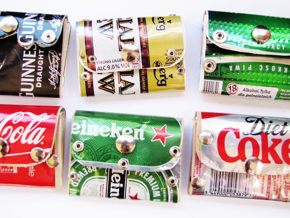Small Pocket Wallet, Riveted Heineken Beer can, Recycled, Eco, Green, Red Star