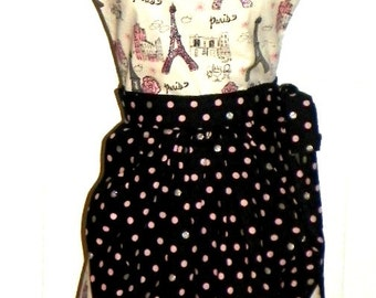 French Maid Apron -  Spring in Paris Retro Style
