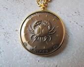 Vintage Horoscope Zodiac Coin Pendant Cancer c.1970s