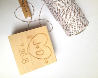 "Custom heart and arrow stamp. 1.5""x1.5"" DIY  Wedding Decor // Craft Supplies// Anniversary Gift"