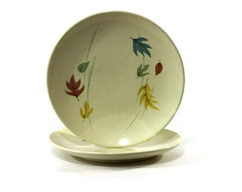 Vintage Franciscan Autumn Salad Plates, Mid Century, California Pottery, Fall Decor