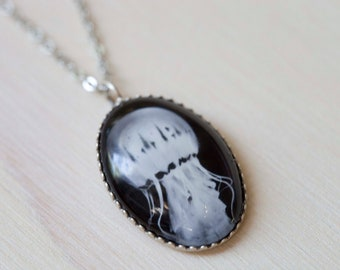 Black and White necklace,  Jellyfish Photo Pendant  - Wearable Art Jewelry - Gift for Her gift under 20