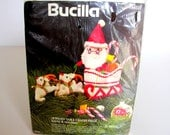 Vintage Bucilla Kit Jeweled Christmas Table Centerpiece Santa Reindeer No. 48652 New Old Stock