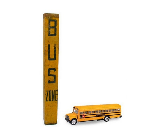 Vintage Sign School Bus Zone Yellow Black Graffitied Distressed Handpainted Wood Post