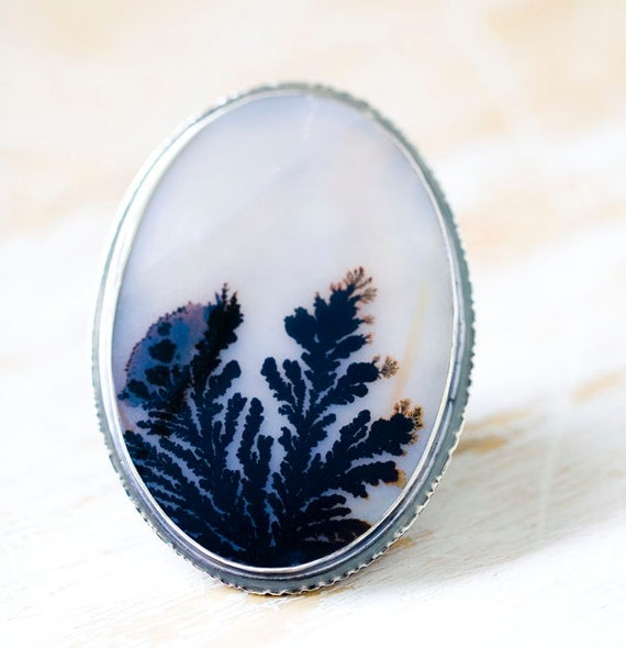 reserved dendritic agate ring sterling silver ring plume