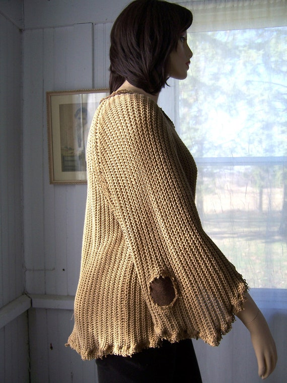 Reconstructed Asymmetric Sweater Tunic Tattered Shabby Cotton Knit Light Coffee Brown One Size Up To 1X