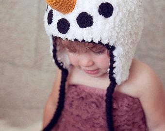 Crochet Pattern - Snowman Hat, Winter Cap