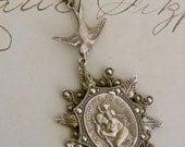 Necklace - Saint Christopher Travel - Vintage Brass - Handmade