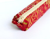 Delightful Poppy Red Bali Batik Pencil Case, Small Cosmetic Cotton Zipper Pouch - hennyseashell