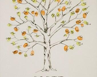 Fingerprint Tree Wedding Guest Book Alternative, Original Hand-drawn Extra Small Elm Design (ink pads sold separately)