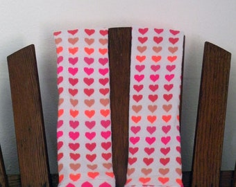 Baby Leggings for Girls - Valentine Heart Pattern in Pink, Peach and Neon Pink and Neon Orange