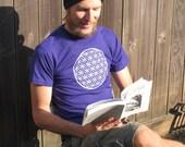 Flower of Life Shirt, on Purple Unisex Large - tshirt print sacred geometry, ancient symbol, occult, earth, eco, burn, seed, festival, hippy