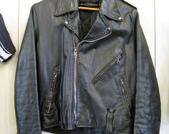 Vintage 1980's Black Harley Davidson Leather Motorcycle Jacket size 40 Medium AMF