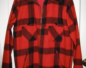 Vintage Johnson Woolen Mills Plaid Wool Hunting Jacket Coat size 40