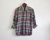 Vintage Plaid Shirt -- Mens Cotton Button Down -- Long Sleeve Mens Shirt -- XL XXL