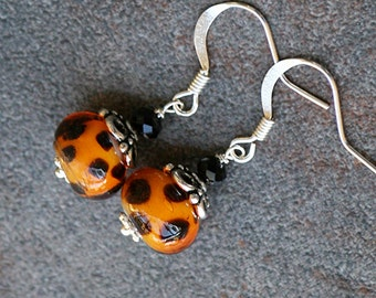 Leopard Earrings, Cheetah Earrings, Animal Print Earrings, Glass Earrings, Handmade Earrings, Neutral Earrings, Beaded Earrings