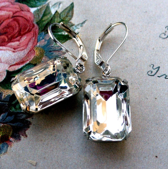 RESERVED for AMANDA Hollywood Glam Ice Crystal Emerald Cut Jewel Earrings