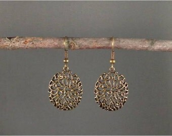 Willow - Intricate Oval Antiqued Bronze Earrings