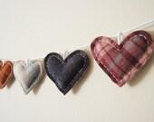 Primitive Heart Garland - Rustic Love Bunting - Country Rustic Wedding Decor