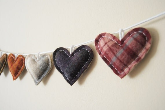 Primitive Heart Garland - Rustic Love Bunting - Country Rustic Wedding Decor