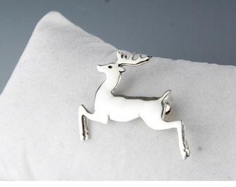 Reindeer Sterling Silver Pin