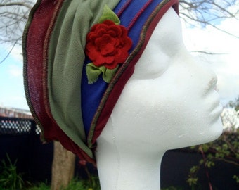 Gypsy Flower  Headband flapper head cover ladies adult headwear bohemian chemo hat