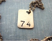 lucky number necklace - personalized hand stamped jewelry - CHOOSE your number or initials