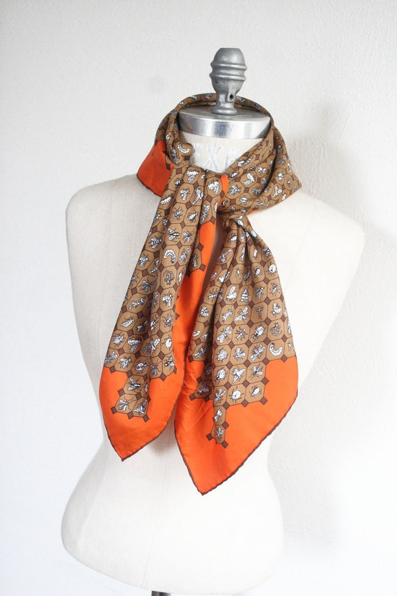 vintage 1960s scarf / busy bees / AZNER RELI