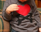 Valentine's Day Shirt for Boy - Heart and Arrows - Long Sleeve T shirt