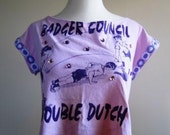 T Shirt Crop Top Ladies Sleeveless Upcycled Geekery 80s Pink Purple  - Size Medium