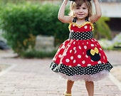 """Minnie Mouse Dress Halter Dress Red and Yellow """"Sweetheart"""" 12M to 6Y"""