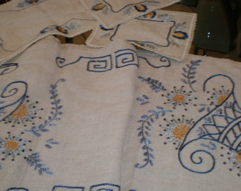 "Linen Swedish Crewel Embroidered Table Or Piano Runner Doily ""Horn A Plenty Floral"" Theme - Tatted Lace Edging- Antique"