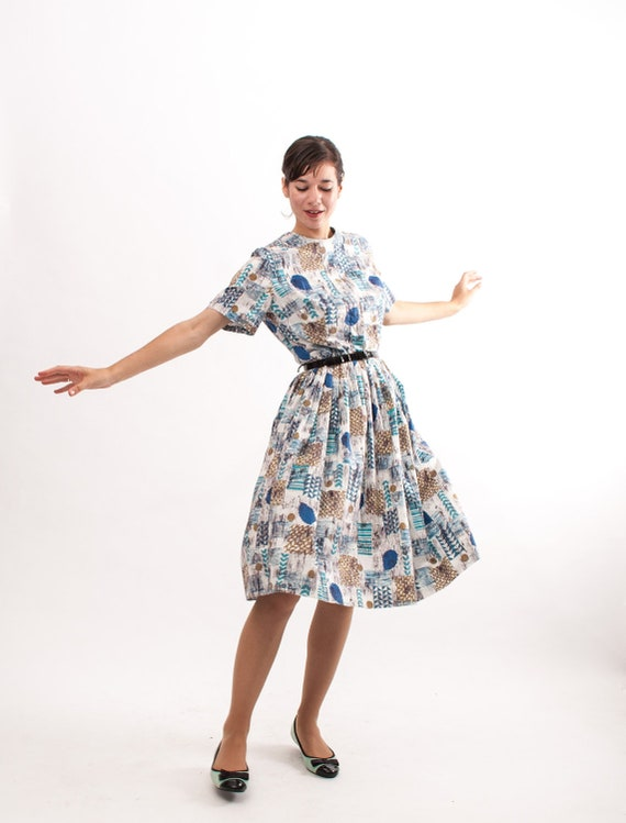 Vintage 1950s Dress - 50s Cotton Dress - Blue Abstract Print