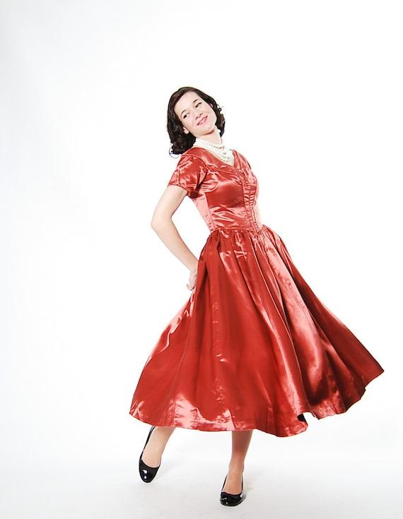 Clearance - sale - Vintage 1940s Cocktail Dress - 40s Party Dress - Copper Penny Satin