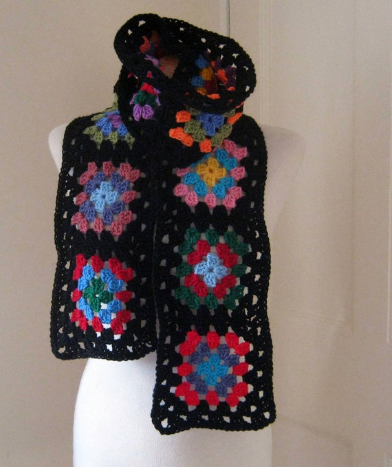 Traditional Retro Style Granny Square Crochet Scarf