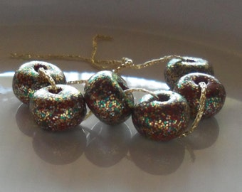 Christmas Morning - Glitter Beads - Polymer Clay