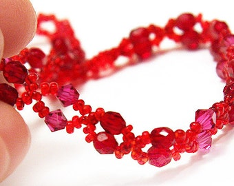 Summer Outdoors Summer Outdoors Tiny Lace Ruby Necklace Faceted Ruby Stones and Fuchsia Red Swarovski Crystals Small beads jewelry trend