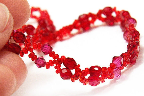 Tiny Lace Ruby Necklace.  Faceted Ruby Stones and Fuchsia Red Swarovski Crystals. Small beads.