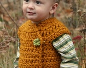 Instant PDF File For 9-12 Month Autumn Pumpkin Bulky Crossover Button Up Crochet Vest Pattern PDF